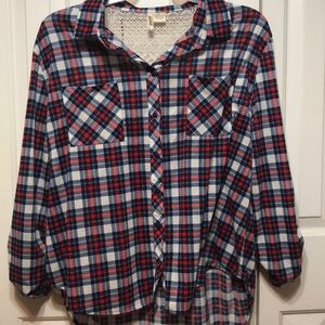Red White and Blue Plaid Plus Size Top!